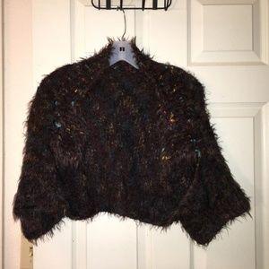 vintage faux fur soft, stretchy bolero-style shrug